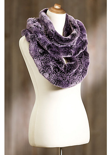 Purple Knitted Rex Rabbit Fur Infinity Scarf