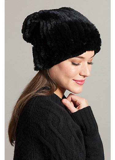 Knitted Rex Rabbit Fur Stretch Beanie Hat