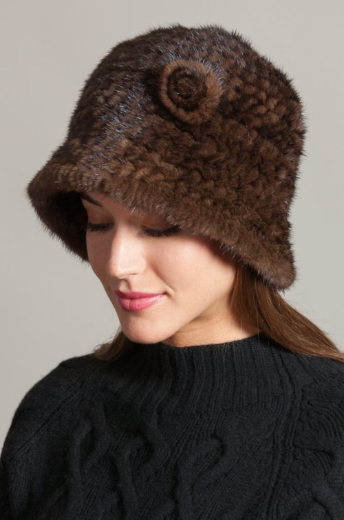 Knitted Danish Mink Fur Cloche Hat with Removable Floret