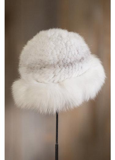 Knitted Danish Mink Fur Hat with Finnish Fox Fur Trim