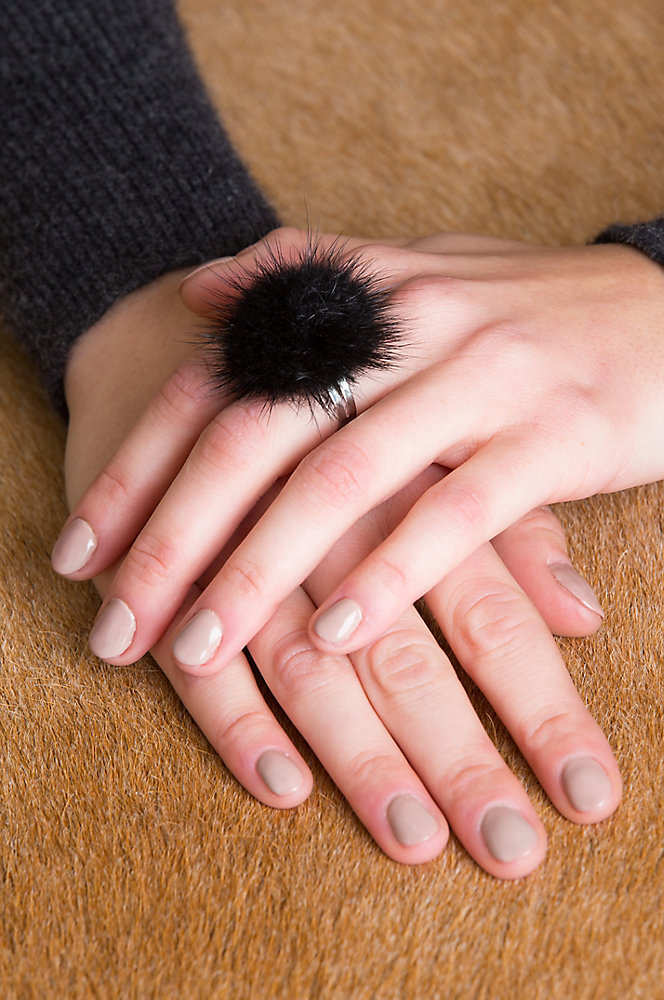 Adjustable Danish Mink Fur Rings - Set of 3 (Dark Grey, White, Black)