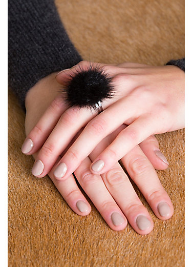 Adjustable Danish Mink Fur Rings - Set of 3 (Dark Grey, White, Black)