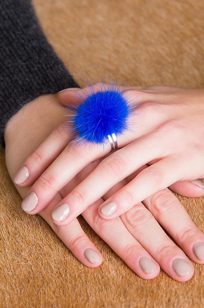 Adjustable Danish Mink Fur Rings - Set of 3 (Red, Purple, Blue)