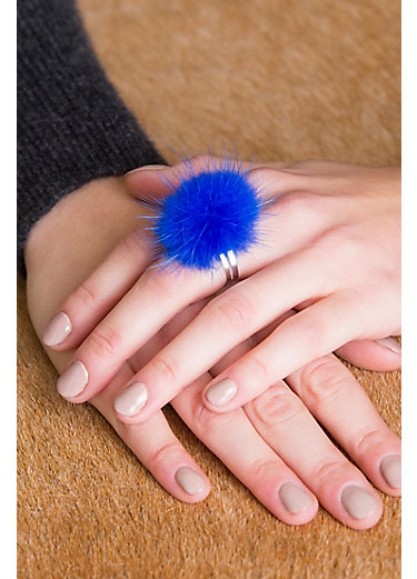 Adjustable Danish Mink Fur Rings - Set of 3 (Red, Purple, Blue)