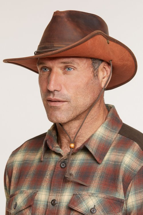 Aussie Distressed Leather Outback Hat