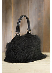 Tibetan Lamb Wool and Leather Handbag