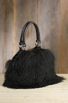 Tibetan Lamb Wool and Leather Handbag