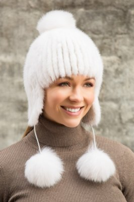 Finn Mink Fur Hat with Fox Fur Poms