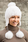 Finn Mink Fur Trapper Hat with Fox Fur Poms