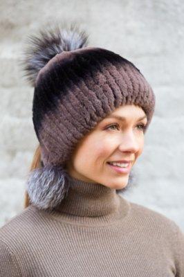 Rex Rabbit Fur Hat with Fox Fur Poms
