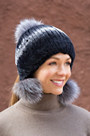 Rex Rabbit Fur Beanie Hat with Fox Fur Poms