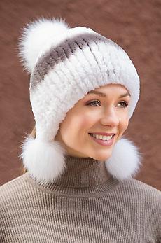 Rex Rabbit Fur Beanie Hat with Fox Fur Poms