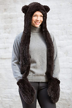 Knitted Rex Rabbit Fur Hooded Bear Scarf with Mittens