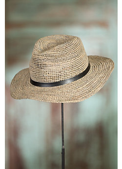 Crocheted Raffia Floppy Hat with Leather Band