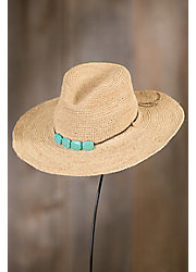 Continental Turquoise Raffia Floppy Hat
