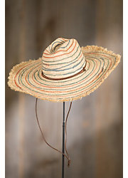 Striped Beach Straw Floppy Hat