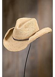 Handmade Crocheted Raffia Cowboy Hat