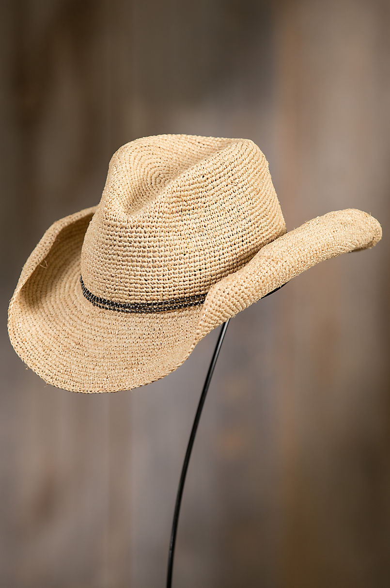 Handmade Crocheted Raffia Cowboy Hat Overland