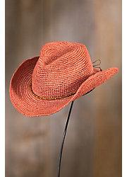 Handmade Rancher Crocheted Raffia Cowboy Hat