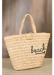 To-The-Beach Crocheted Raffia Summer Tote Bag