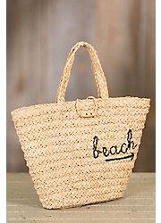 To-The-Beach Crocheted Raffia Summer Tote Bag