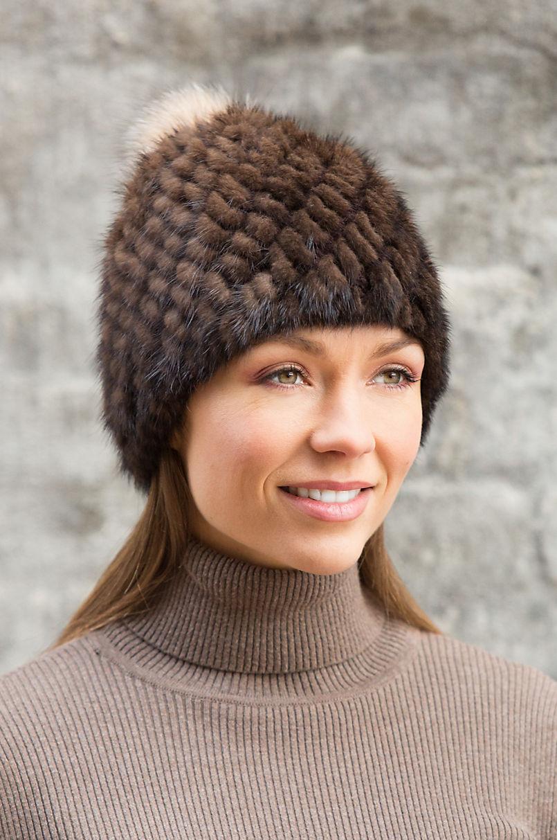 5cfab1cef0a86 Knitted Mink Fur Beanie Hat with Fox Fur Pom