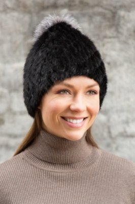 Knitted Mink Fur Hat with Fox Fur Pom