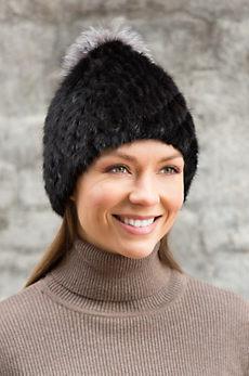 Knitted Mink Fur Beanie Hat with Fox Fur Pom
