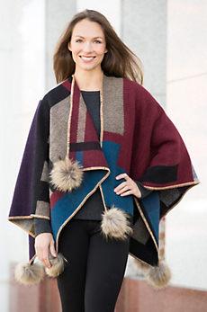 Shanna Wool Blanket Wrap With Raccoon Fur Poms