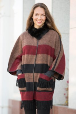 Bonita Wool Poncho with Fox Fur Collar