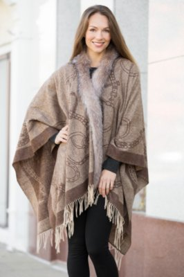 Aiyanna Wool Wrap with Fox Fur Trim
