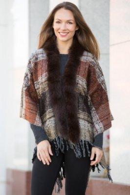 Deanna Boucle Knit Wrap with Fox Fur Trim