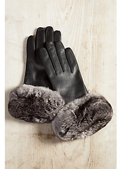 Women's Lambskin Leather Gloves with Chinchilla Fur Trim