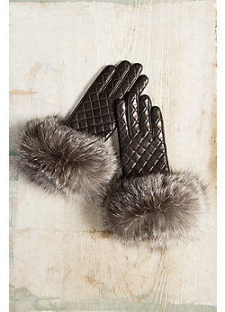 Women's Wool-Lined Quilted Lambskin Leather Gloves with Fox Fur Trim