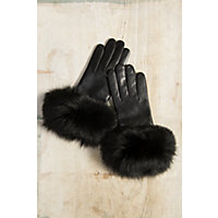 Vintage Style Gloves Womens Dents Glamis Silk-Lined Leather Gloves with Rabbit Fur Trim BLACKBLACK Size 8 $115.00 AT vintagedancer.com