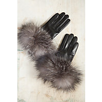 Vintage Style Gloves Womens Shearling Sheepskin Gloves with Fox Fur Trim BLACKINDIGO Size 8 $115.00 AT vintagedancer.com