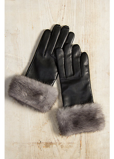 Women's Wool-Lined Lambskin Leather Gloves with Mink Fur Trim