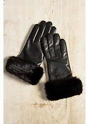 Women's Wool-Lined Lambskin Leather Gloves with Mink Fur Trim