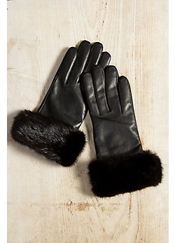 Women's Lambskin Leather Gloves with Mink Fur Trim