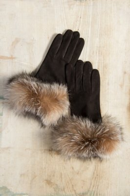 Women's Wool-Lined Suede Leather Gloves with Fox Fur Trim