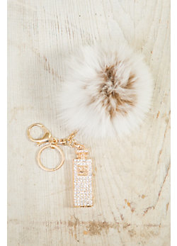 Charm Key Chain with Fox Fur Pom