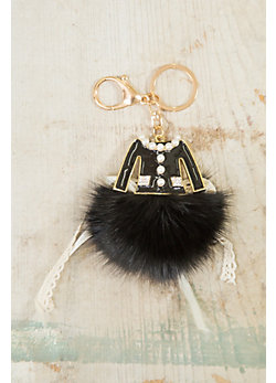 Enamel Dress Keychain with Fox Fur Pom
