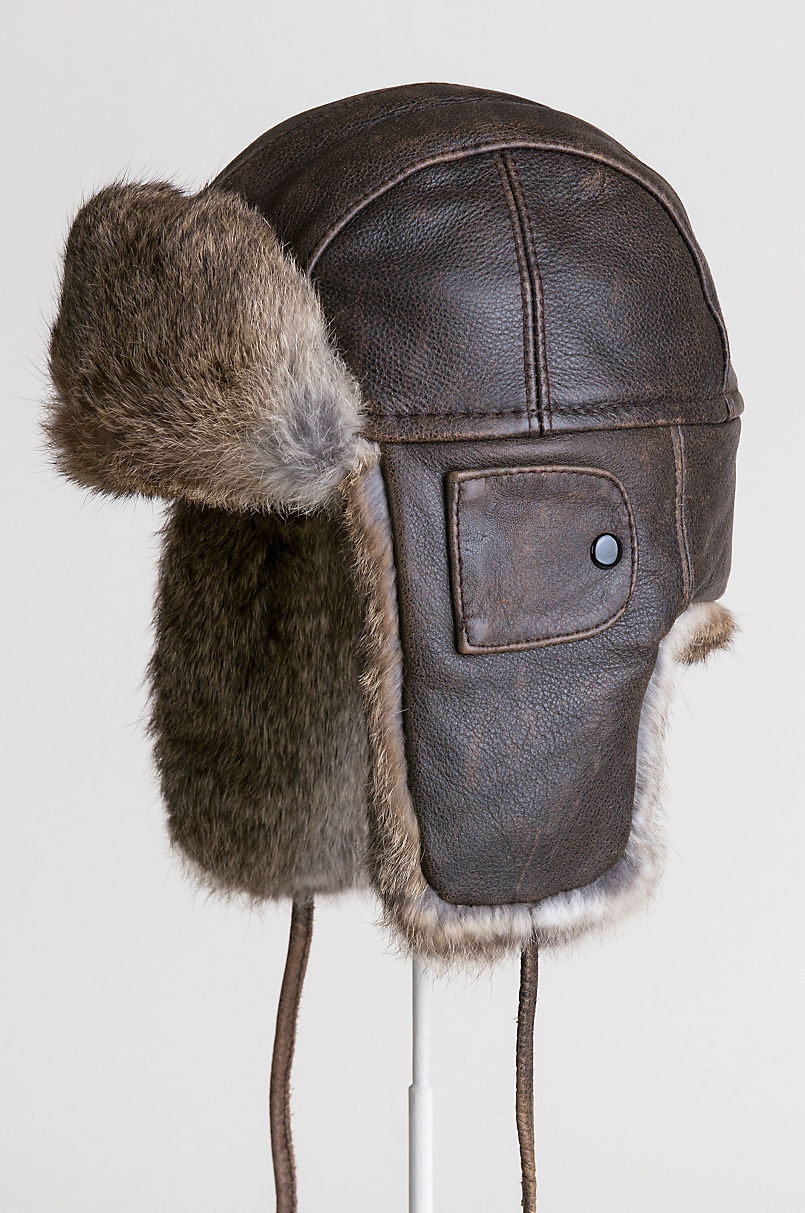 Vintage Leather Aviator Hat with Rabbit Fur Trim  056837336ff2