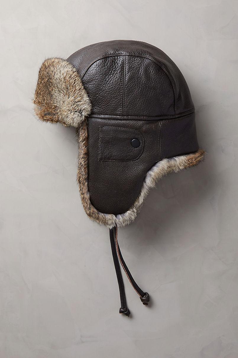 25205fe0fbebc Vintage Leather Aviator Hat with Rabbit Fur Trim. Australian Merino  Sheepskin Trapper Hat