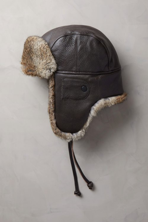 Vintage Leather Aviator Hat with Rabbit Fur Trim 8fe078ff622c