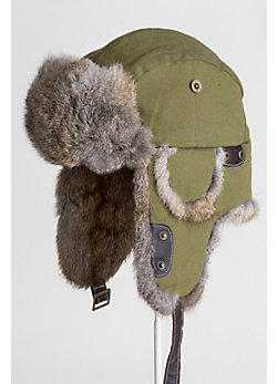 Canvas Trapper Hat with Rabbit Fur Trim
