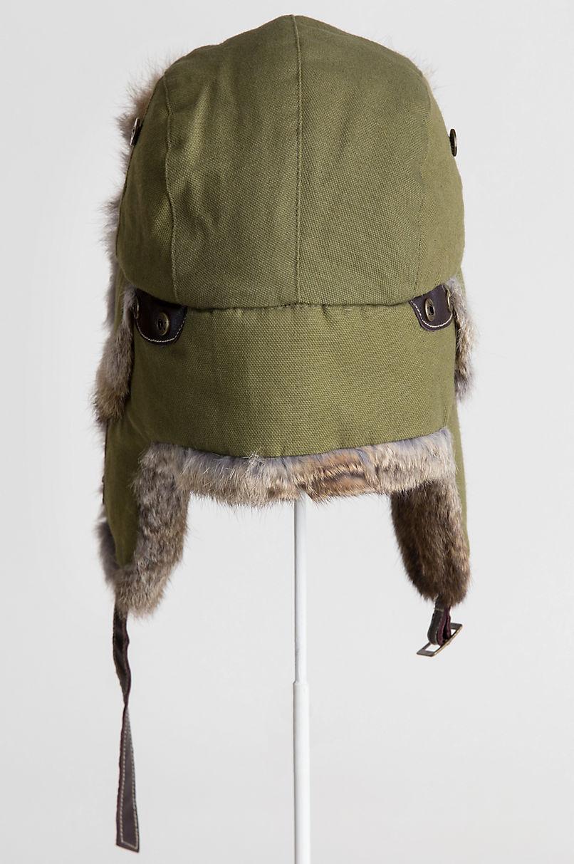 54df980e28d41 Canvas Trapper Hat with Rabbit Fur Trim