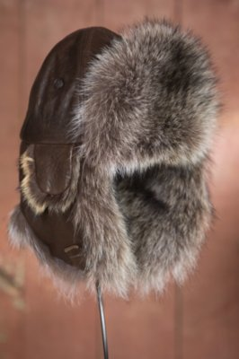 Lambskin Leather Trapper Hat with Raccoon Fur Trim