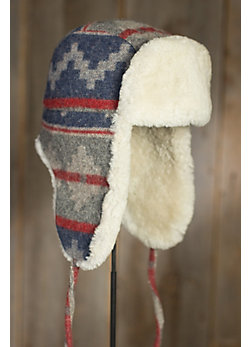 Navajo Wool Trapper Hat with Shearling Lining