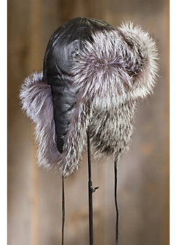Goatskin Leather Aviator Hat with Fox Fur Trim